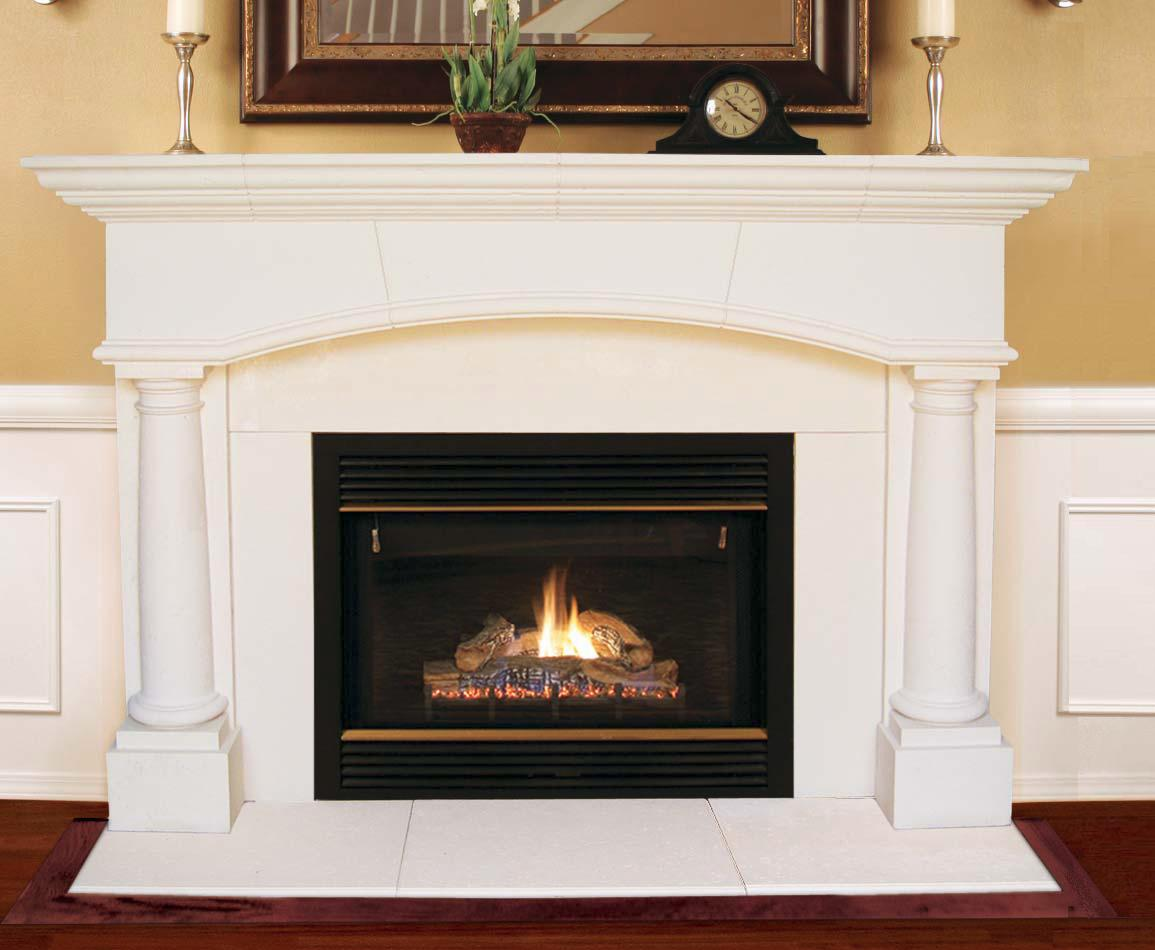 Designer stone mantels for fireplaces