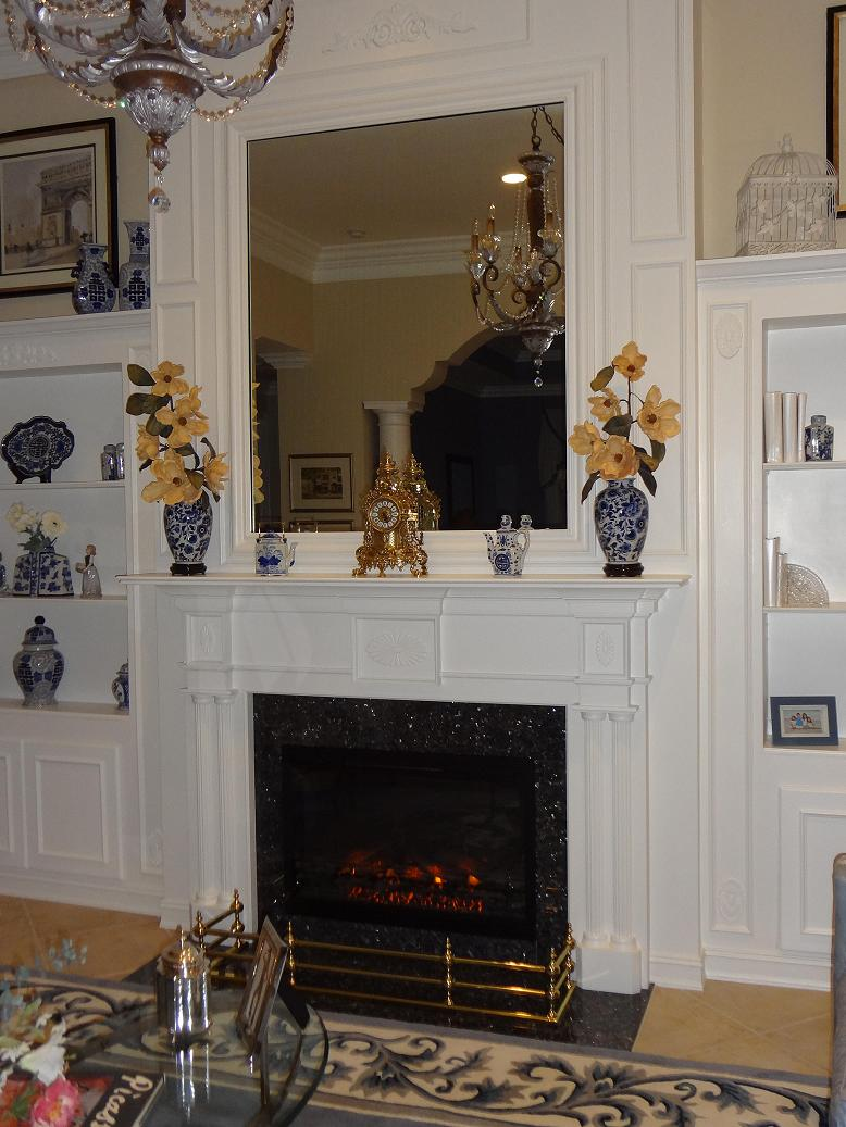 The Columbia Colonial mantel painted white