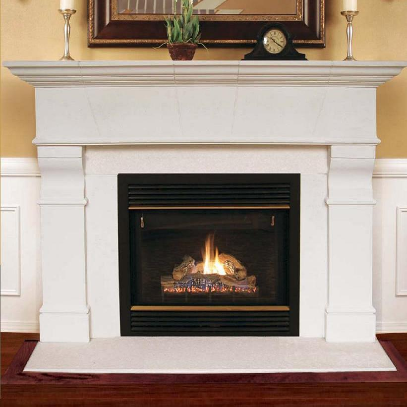 This selection of limeston colored mantels includes those with a modern