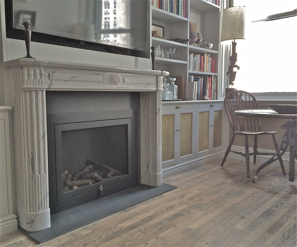 White Marble Mantel in a Library