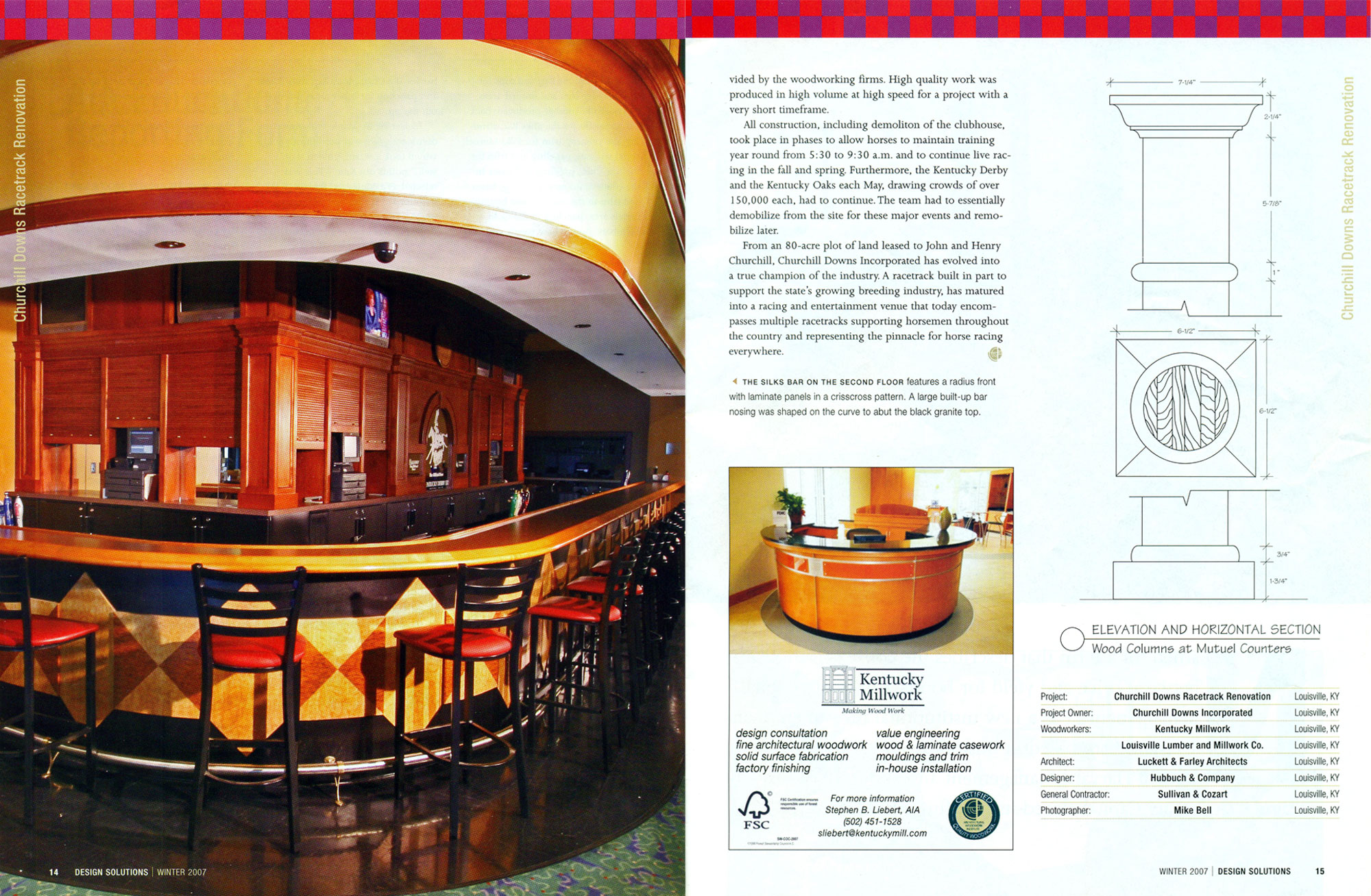 Pictures of wainscoting used in the Churchill Downs magazine