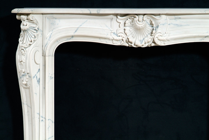 Fine craftsmanship is apparent on each marble mantel