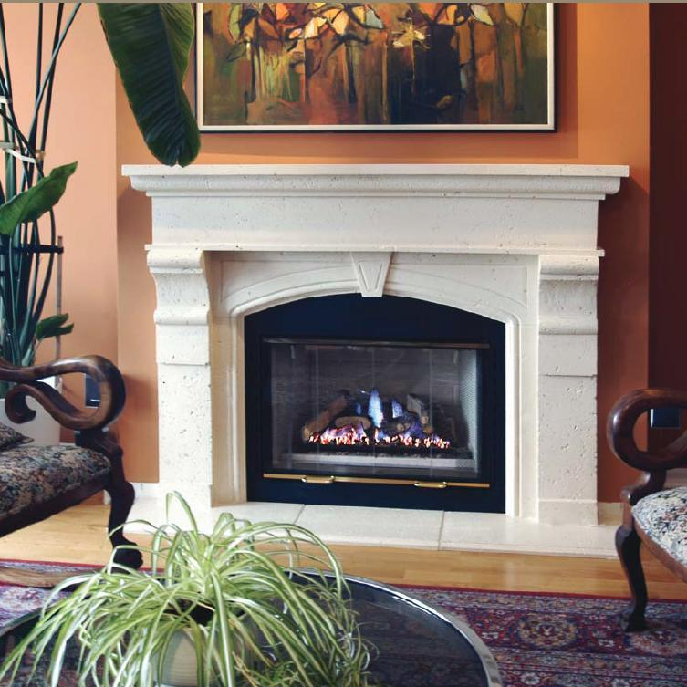 Charlestown Thin Cast Stone Mantel features an arch