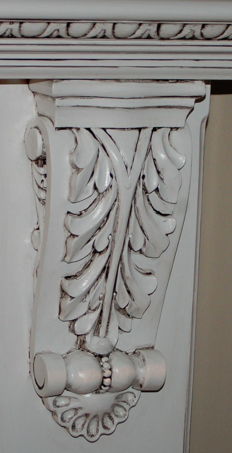 Glazed finish on mantel shelf corbel