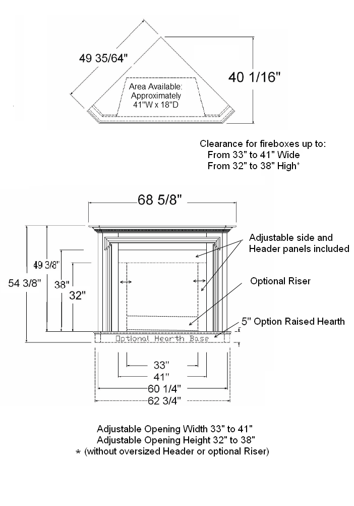 Corner Mantel Specifications | West Brook
