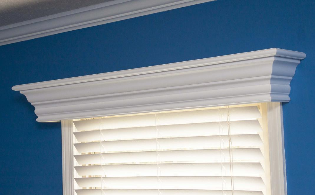 The Ashland is a custom wood cornice for windows