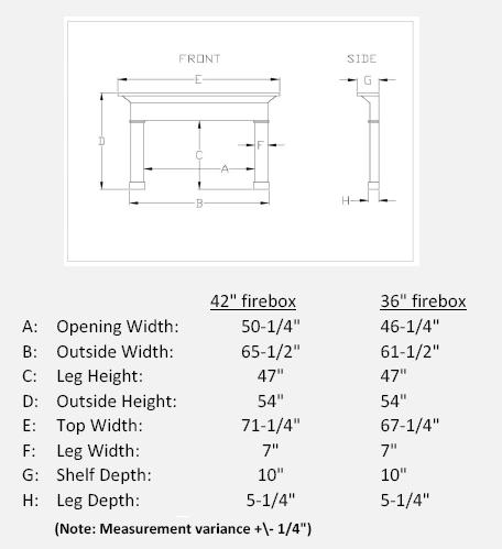 Travertine Stone Mantel Dimensions