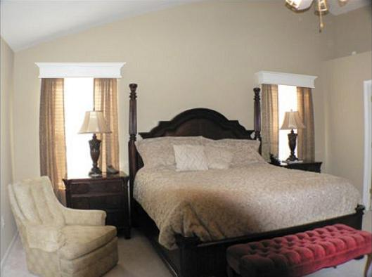 Window Cornices in a master bedroom