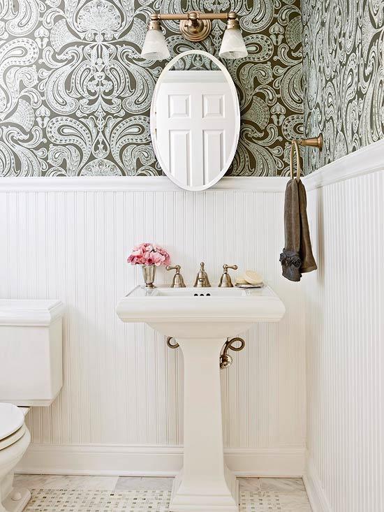 White Beadboard in Bathroom   Tall Wainscot