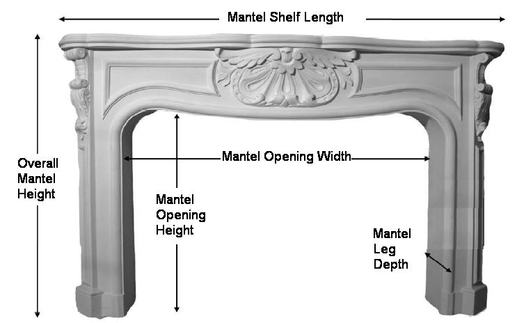 Cast Plaster Fireplace Mantel Specifications Illustration