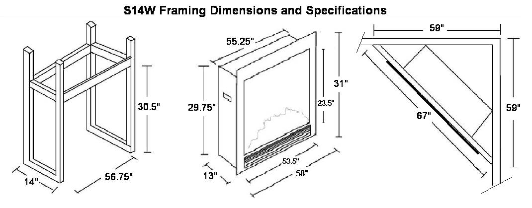 s14w electric fireplace insert specifications