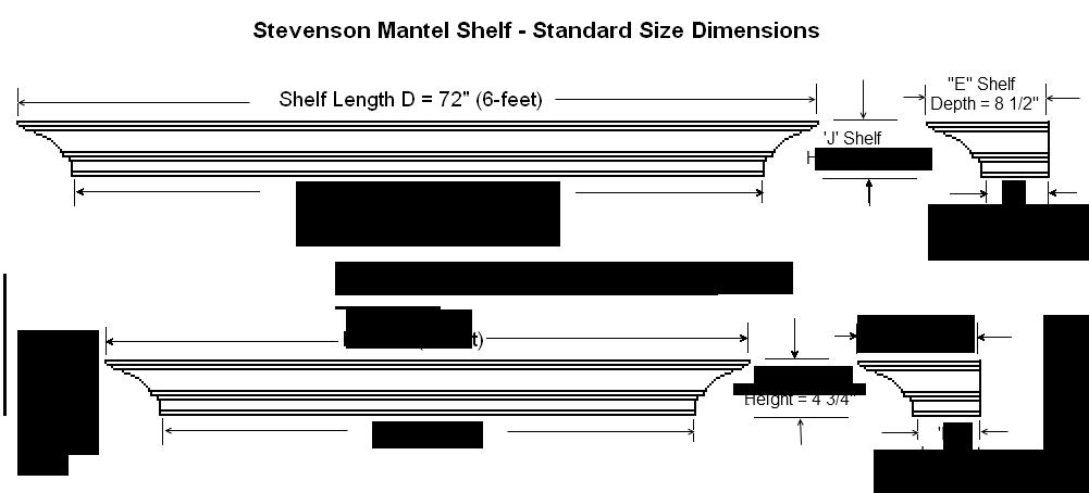 Dimension Guide for Standard Stevenson Mantel Shelves