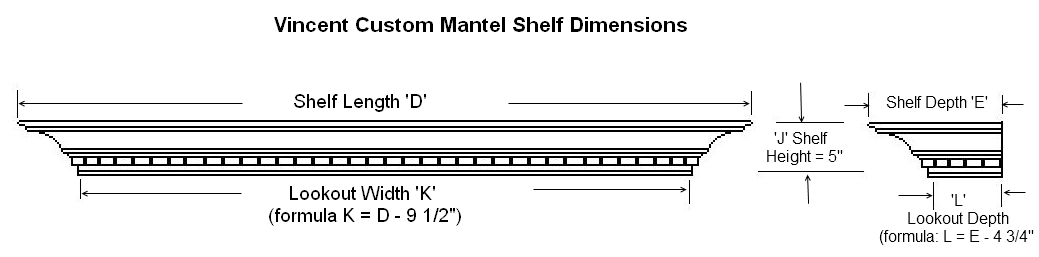 Dimension Guide for Vincent Custom Mantel Shelves